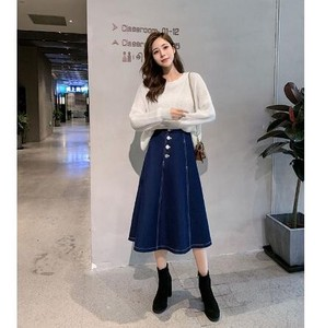 Skirt S/S Denim High-waisted Pleats Skirt