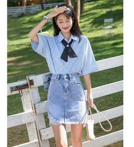 Skirt S/S Denim High-waisted Irregularity Half Body Skirt