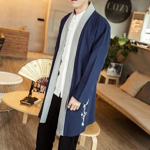 Cardigan Men's S/S Long Cardigan Men's Clothing Vintage Switch Embroidery Sunscreen Jacket