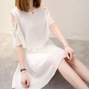 Ladies Chiffon One-piece Dress Short Sleeve One-piece Dress Dear One Piece Round Neck