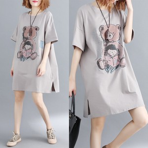 Character Print Short Sleeve One-piece Dress