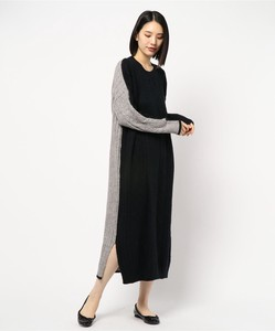 Color Scheme Cable Knitted Long One-piece Dress