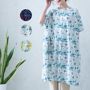 S/S Repeating Pattern Embroidery Box One-piece Dress
