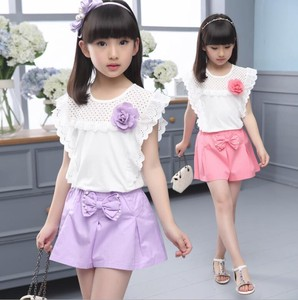 Children's Clothing Top Pants 2 Pcs Set Girl Line Ribbon Child Purple