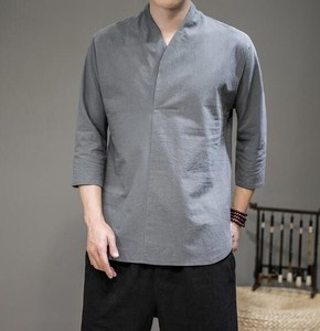 Men's Leisurely Plain Three-Quarter Length T-shirt 5 Colors