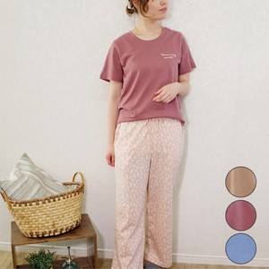 Pouch Attached Short Sleeve Leopard Long Pants Loungewear Set