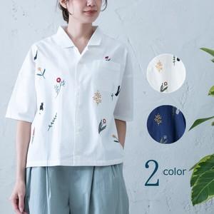S/S cat Flower Embroidery Embroidery Shirt
