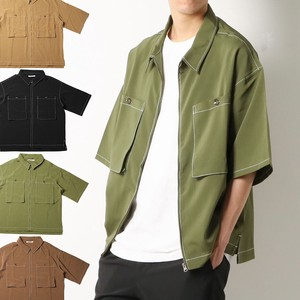 Shirt Short Sleeve Big Silhouette Men's Big Shirt Drop Shoulder Short Sleeve Shirt
