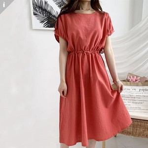 Linen Flare Fit Long One-piece Dress