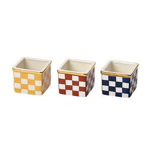 Hand-Painted Gold-Rimmed Checkered Spice Tray