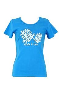 Tシャツ/ターコイズブルー/コーラル(サンゴ)モチーフ/ハワイアンTシャツ