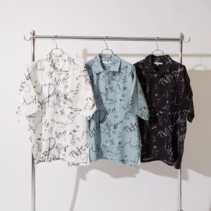 S/S Repeating Pattern Letter Print Big Short Sleeve Shirt