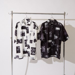 S/S Repeating Pattern Photo Print Big Short Sleeve Shirt