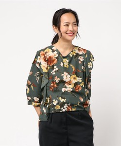 Flower Print Front Frill Three-Quarter Length Sleeve Length Blouse Bespoke Print