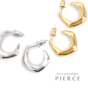 Gloss Metal Form Square Shape Metal Hoop Pierced Earring