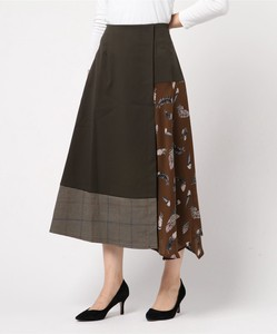 Feather Print Checkered Flare Skirt Bespoke Print