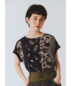 Feather Print Flower Print Patchwork Blouse Bespoke Print