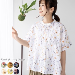 Blouse Shirt Floral Pattern Ladies Pullover Shearing Blouse