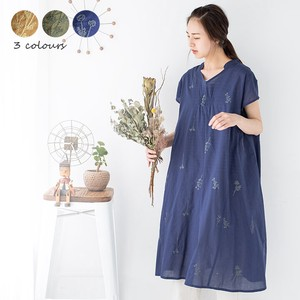 One-piece Dress Flower Embroidery One-piece Dress Sheer Plant Gather