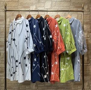 [売れ筋]星柄刺繍シャツ