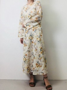 Flower Print Lace Objects and Ornaments Ornament Long One-piece Dress Bespoke Print