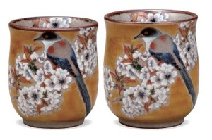 [Kutani Yaki] Japanese Tea Cup Yoshida Wild Cherry Tree