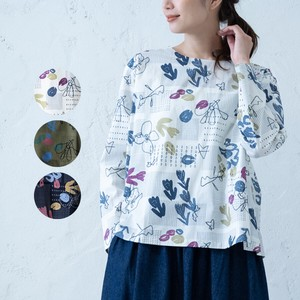 A/W Repeating Pattern Print Embroidery Blouse
