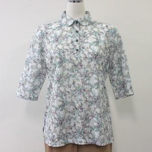 フラワープリントポロシャツ<日本製>