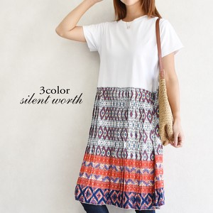 [ 2020NewItem ] Cut Ethnic Pleats Switching One-piece Dress