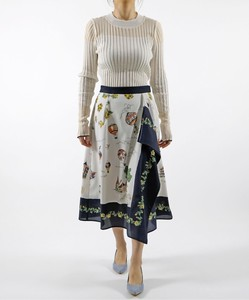 Panel Print Front Frill Flare Skirt Original Print