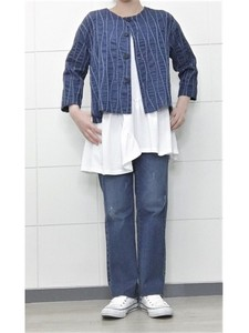 Wave Embroidery Denim Non-colored Jacket