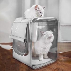 Tousen ペットバックパックキャリーバッグ リュックバッグ ペット用 犬猫用リュックキャリー 透明全景可