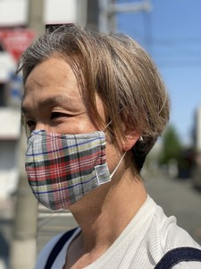 S/S Design Mask Double Gauze Gray Checkered