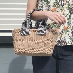織リボンハンドル雑材 カゴバッグ