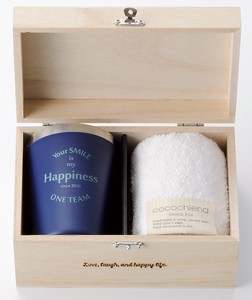 Present Gift Happiness Wood Boxed Stainless Tumbler Fluffy Towel