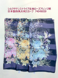 Scarf Silk Stripe Fabric Rose Arrangement Made in Japan Square Large Format Scarf