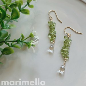 Peridot Crystal Pierced Earring Natural stone