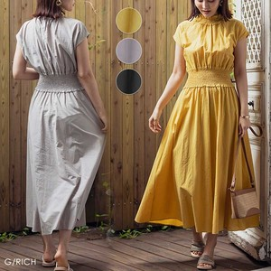 One-piece Dress Gather French Sleeve Long Flare Short Sleeve High Neck
