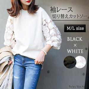 【FelesNoche】再入荷!袖レースカットソー 大人かわいい Tシャツ きれいめ 七分袖 白黒 全2色