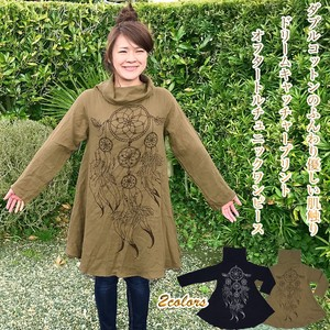 Double Cotton Dream Catcher Print Turtle Long Sleeve Tunic One-piece Dress