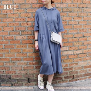 Design Gather Three-Quarter Length Hoody One-piece Dress myke