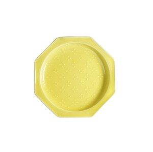 Fortune [Made in Japan] Japanese Mino Ware Octagon Plate [Flowers] Yellow