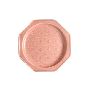 Fortune [Made in Japan] Japanese Mino Ware Octagon Plate [Flowers] Pink