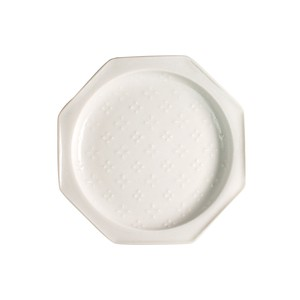 Fortune [Made in Japan] Japanese Mino Ware Octagon Plate [Flowers] White