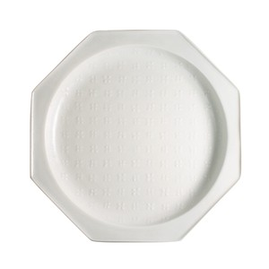 SUEHIRO Fortune [Made in Japan] Japanese Mino Ware Octagon Plate [Flowers] White