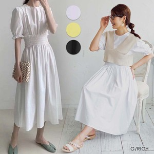 S/S One-piece Dress Sleeve Gather One-piece Dress Long Short Sleeve Cotton