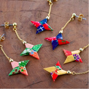 Japanese Craft Accessory Origami Pierced Earring Shuriken