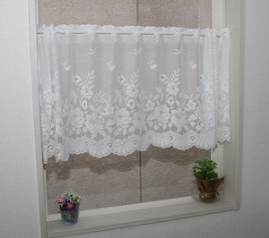 Cafe Curtain Floral Pattern White [ 2020NewItem ]