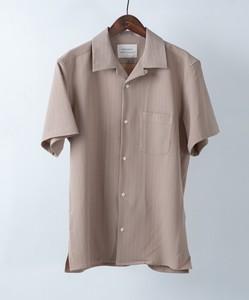 【2020新作】ストライプオープンカラー半袖シャツ