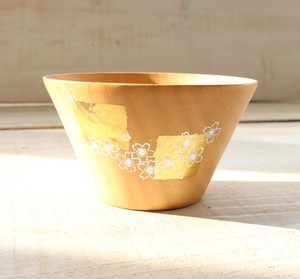 Vivid Makie Wood Bowl Gold Sakura Natural Wood /Natsume material